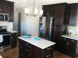 Dark cabinets in a newly renovated Stony Plain kitchen