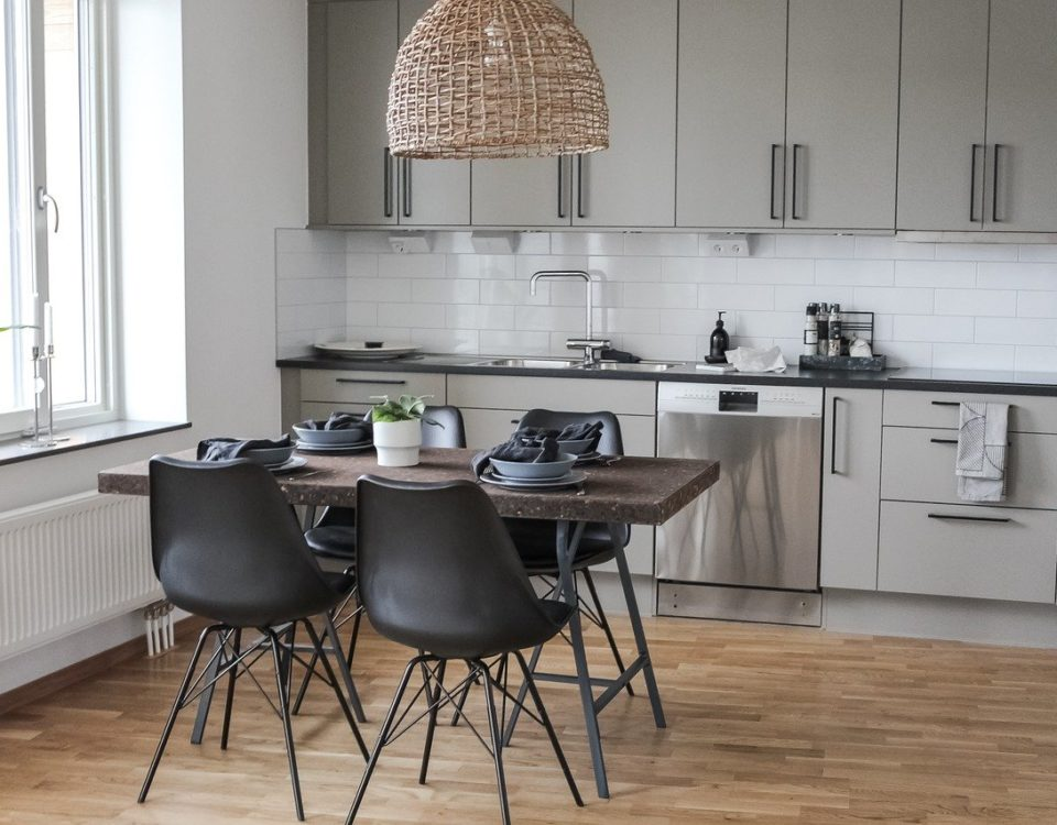 Eco-friendly kitchen with energy-efficient windows